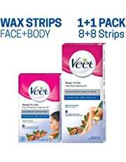Veet Face and Body Waxing Kit for Sensitive Skin - 8 + 8 Strips