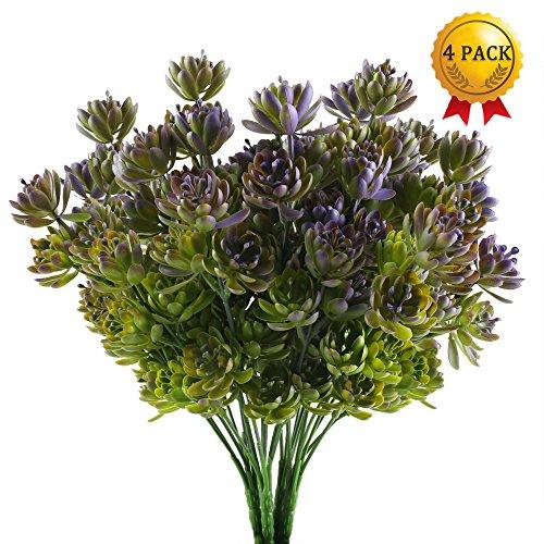 Nahuaa piante in plastica per interni ed esterni 4 pezzi disposizione di piante artificiali di piante grasse bouquet decorato in vasi da giardino per la casa