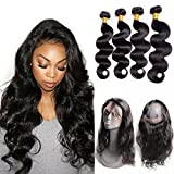 Maxine Body Wave with 360 Frontal (16 18 20+14) 9A Grade Malaysian Body Wave 3 Bundles Virgin Human Hair Extensions with 360 Free Part Lace Frontal Closure Natural Color