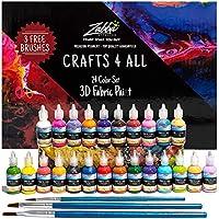 Vernice di tessuto 3D Set di 24 colori vivaci di qualità Premium da Crafts 4 ALL. Ideale per vetro, tela, tessuti, legno e molti altri