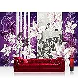 Vlies Fototapete 300x210 cm PREMIUM PLUS Wand Foto Tapete Wand Bild Vliestapete - Ornamente Tapete Blumen verspielt lila - no. 303