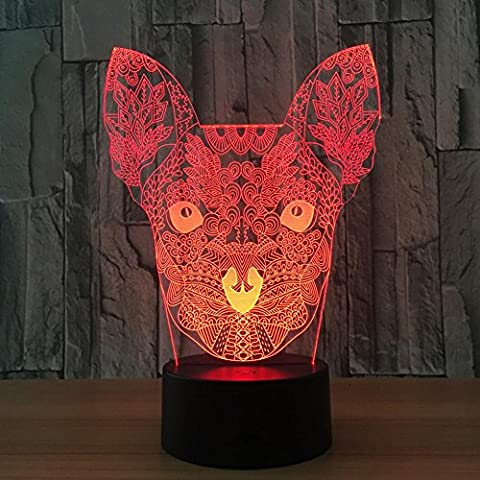 IAGM 3D LED Illusion Night Light Creative Dog Head Gift Touch 7 Color Change USB Acrylic Board Visual Atmosphere Desk