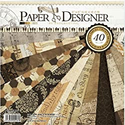 Paper Designer Set Of 40 Thick Beautiful Pattern Design Printed Papers , Theme: Retro Style