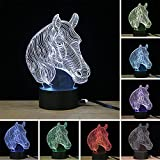 XYDM 3D Illusion Lamp Horse Head Effect Night Light 7 Colors with Touch Switch USB Cable Gift Home Office Decorations