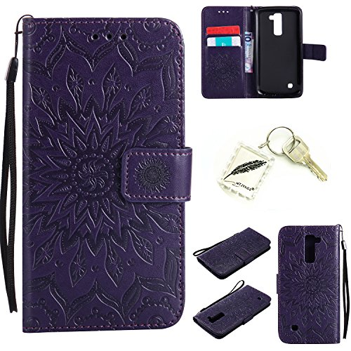 Preisvergleich Produktbild Silikonsoftshell PU Hülle für LG K10 (5,3 Zoll ) Tasche Schutz Hülle Case Cover Etui Strass Schutz schutzhülle Bumper Schale Silicone case+Exquisite key chain X1#AD (2)