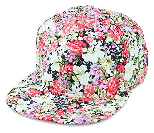 Sense42 | Snapback Cap im Blumen Design | Unisex, für Damen und Herren | One Size | größemverstellbar | großer Schirm | All-Over-Print (Snapback-hut Für Frauen)