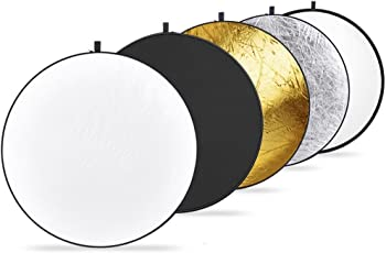 Sonia 42-inch/107 cm 5 in 1 Collapsible Multi-Disc Light Reflector with Bag - Translucent, Silver, Gold, White and Black