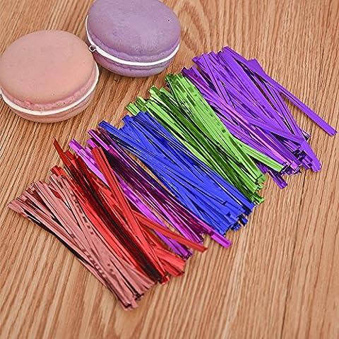 Lanlan 800pcs Metallic Twist Bindungen Folie twistbänder für Cello Taschen, Taschen in Parteien zufällige Farbe