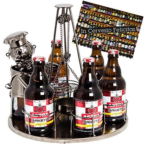 BRUBAKER portabottiglie birra dal design 'stazione barbecue' con biglietto di auguri