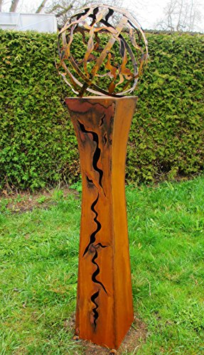 floristikvergleich.de Gartendeko Fackelsäule Rost Fackel Säule 125cm tailliert mit Feuerkugel *