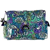 Kalencom KAL 2960 - Bolso para pañales diseño colorido de flores de estilo ruso (40 x 15 x 30 cm) color azul y verde