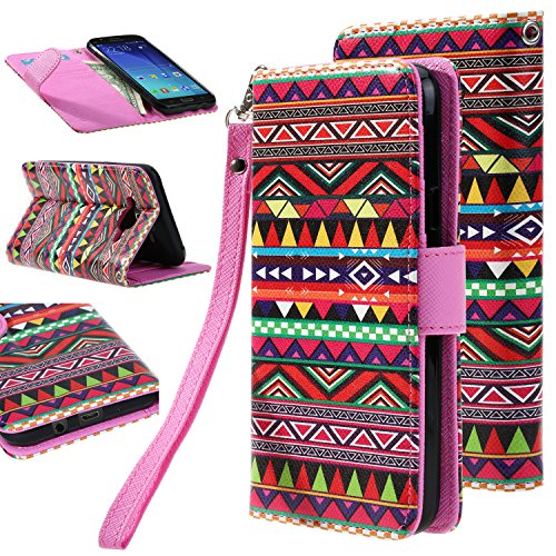J7 case, Galaxy J7 Flip cover, E LV Samsung Galaxy J7 Flip Folio Wallet Case Cover - Deluxe PU Leather Flip Wallet Case Cover for Samsung Galaxy J7 - TRIBAL