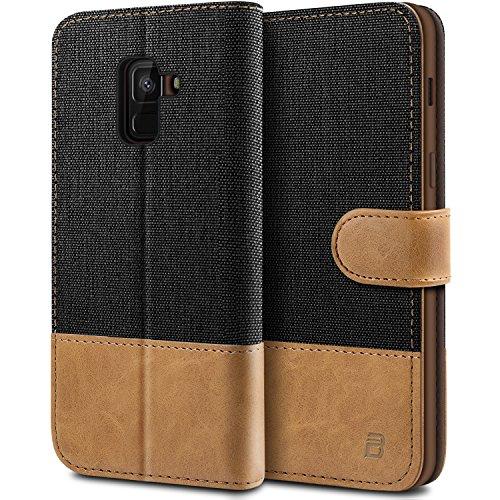 BEZ Hülle für Samsung A8 2018 Hülle, Handyhülle Kompatibel für Samsung Galaxy A8 2018, Handytasche Schutzhülle Tasche Case [Stoff & PU Leder] mit Kreditkartenhaltern, Schwarz