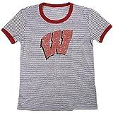 NCAA Wisconsin Badgers Women's Tri-Blend Retro Stripe Ringer Shirt, Small, Red