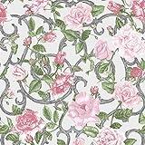 Muriva Tapete Blumen rosa, grün mit Blumen, Violett (1 Stück)