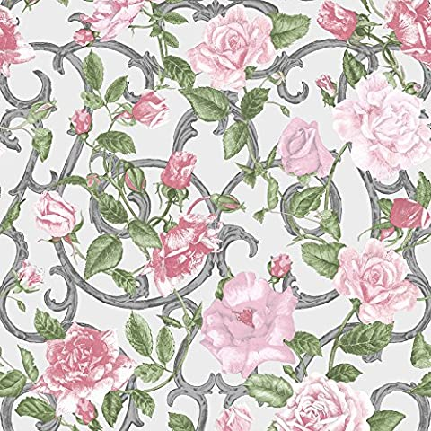 Muriva Tapete Blumen rosa, grün mit Blumen, Violett (1 Stück) (Grüne Scraper)