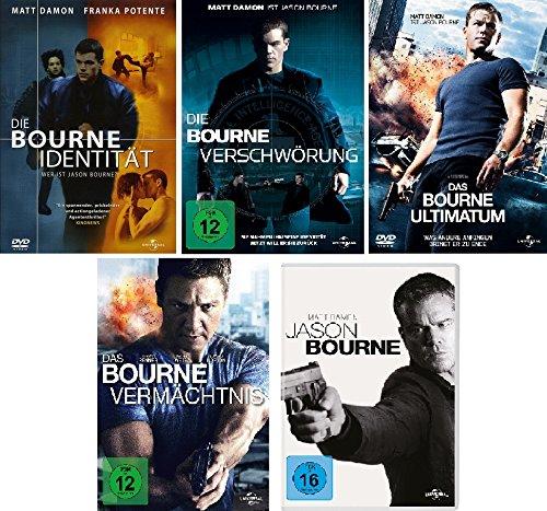 Bourne 5-DVDs (die Bourne Identität, die Bourne Verschwörung, das Bourne Ultimatum, das Bourne Vermächtnis, Jason Bourne) im Se