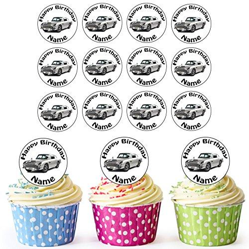 James Bond Aston Martin Oldtimer 24 Personalisierte Vorgeschnittene Kreise - Essbare Cupcake Aufleger / Geburtstagskuchen Dekorationen