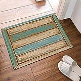 GAOFENFFR Vintage gelb und blau Mosaik Holzboden wasserdicht, langlebig, Rutschfest, Keine Chemikalien