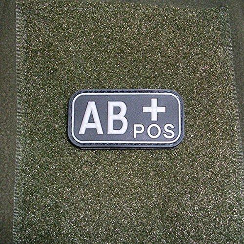 3-D Rubber Patch-sangue gruppo AB + POS sangue Positiv dell' esercito inserto riconoscimento Nero esercito KSK GSG9distintivo polizia Uniform Army 5x 2,5cm # 16268 - Uniform Nero