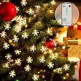 RenFox LED Lichtervorhang Lichterkette Schneeflocke Licht 10 m 100 LED Warmweiß Innen und Außen Deko für Weihnachten, Hochzeit, Party, Garten, Bar, 8 Modi Fernbedienung Controller/IP44 Wasserdicht