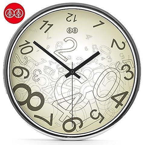Silence @ moderne coloré Creative Silencieux sans tic-tac Horloge murale numérique personnalisé, The Mirror Box, 30,5cm