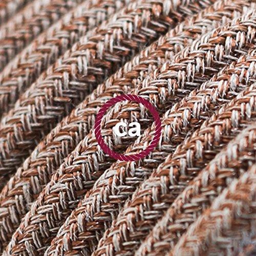 fil-lectrique-rond-gaine-de-coton-de-couleur-tweed-rouille-marron-lin-naturel-et-finition-paillettes