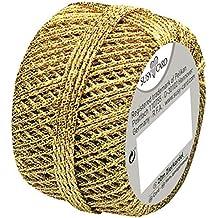Susy Card 11103991 Weihnachts-Cordonnet Knäuel, 1 Stück, eingeschweißt, 20 m, gold