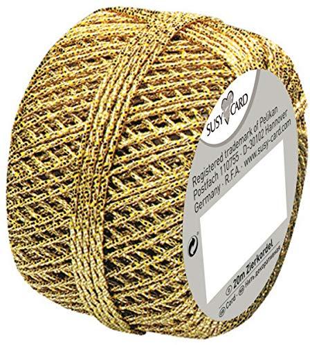 Susy Card 11103991 Weihnachts-Cordonnet Knäuel, 1 Stück, eingeschweißt, 20 m, gold (Kordel Gold)
