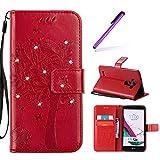 EMAXELERS LG G4 Hülle Glitzer Bling Wishing Tree Schmetterling PU Leder Flip Magnetisch Book Wallet Brieftasche Hülle für LG G4,Red Wishing Tree with Diamond