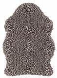 Andiamo 1100391 Kunstfell Holly Schaffell Lammfell Shaggy Fellimitat Langflor Tierfellteppich flauschig weich, 60 x 85 cm, taupe