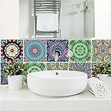 Azulejos adhesivos de imitación Adhesivo decorativo azulejos para baño y cocina Self Adhesive Tile Stickers Wall Sticker 6 (Piezas), Sencillo Vida