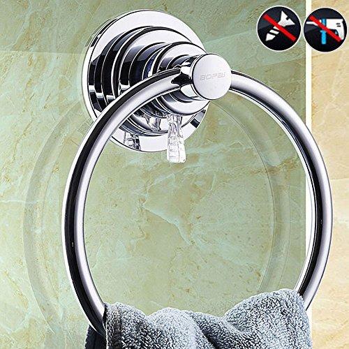 Polierte Chrom Wand (BOPai Vakuum Saugnapf Handtuchringe handtuchhalter für Badezimmer Badinstallation Waschlappen Wand Handtuchring - Ohne Bohren Poliertes Chrom)