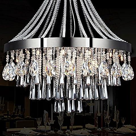 Moderne LED Luxus Kristall Kronleuchter Poliert Chrom Klar Kristall Perlen Edelstahl Chassis LED Patch Lichtquelle (tragen LED Patch Lichtquelle)