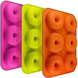 FineGood FG molds_3 - Juego de 3 moldes de silicona con forma de donut, 6 cavidades antiadherentes, para hacer galletas, magd