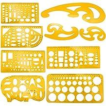 Plantillas de dibujo de arquitectura de Meetory, 9 piezas, herramienta de plantillas de dibujo