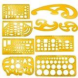 Meetory 9 Stück Architektur-Zeichnungs-Vorlagen, technische Zeichnungs-Schablonen Werkzeug, Französisches Kurvenlineal für künstlerisches Studio, Büro und Schule