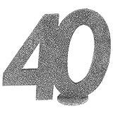 XXL Tischdeko Zahl 40 Geburtstag Silber Glitzer 1 Stück Party-Deko Palandi®