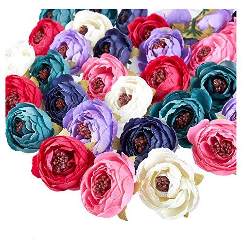 Juvale peony flower heads-60-pack fiori artificiali per matrimoni, decorazioni per il bagnetto, lavoretti, colori misti, 4,1x 4,1x 3cm