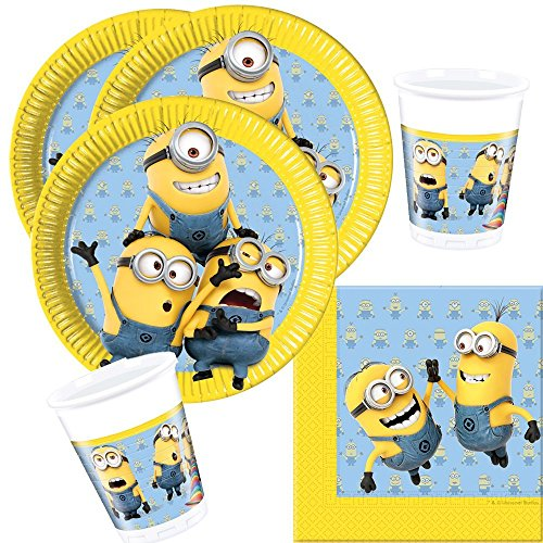 36-teiliges Party-Set Minions - Lovely Minions - Teller Becher Servietten für 8 Kinder
