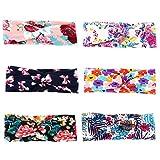COUXILY 6 Stück Damen Elastische Blume Gedruckt Stirnbänder Marineblau Knoten Haarband Knotted Band für Yoga Sport (A-T02)