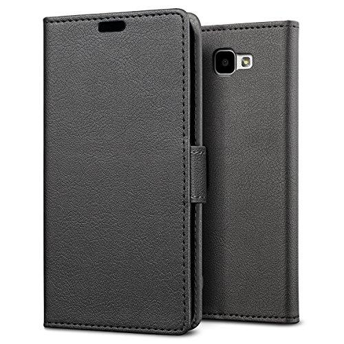 SLEO LG K4 hülle – Premium Luxuriös PU lederhülle, [Vollständigen Schutz] [Kreditkartenfach] Flip Brieftasche Schutzhülle im Bookstyle für LG K4 - Schwarz