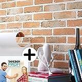 Steintapete Vliestapete Rot Grau , schöne edle Tapete im Steinmauer Design , moderne 3D Optik für Wohnzimmer, Schlafzimmer oder Küche inklusive Newroom Tapezier Profibroschüre, mit Tipps für perfekteWände