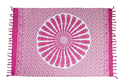 Sarong Pareo Wickelrock Strandtuch Tuch Schal Wickelkleid Strandkleid Ibiza Muster Paisley Pink + Schnalle
