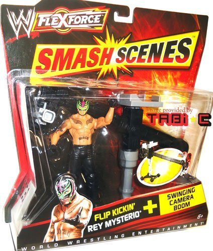 WWE FlexForce Smash Scenes Flip Kickin' REY MYSTERIO (619 Black Outfit) Wrestling Action Figure & Swinging Camera Boom Accessory by Mattel (Outfits Rey Mysterio)