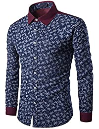 BUSIM Men's Long Sleeve Shirt Color Matching Casual British Gentleman Business Slim Print Fashion Trend T-Shirt...