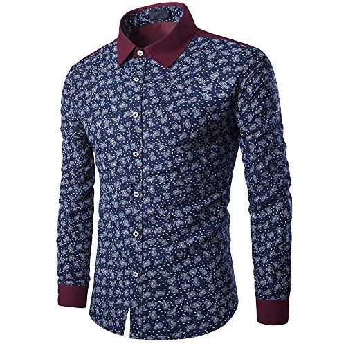 ZODOF Camisetas Negocio Hombre Manga Larga Originales Estampado de Flores Streetwear Casual Slim Fit Blusa Tops Camisa de Hombre