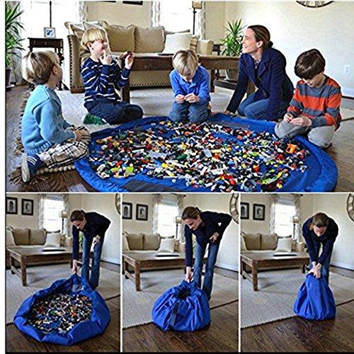 Arredo Casa 59cm di diametro per bambini, Tappetino da gioco Storage Bag Organizer (Blu)