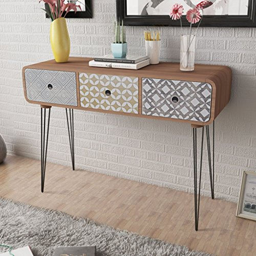 Anself Shabby Chic Console Table Side Cabinet 3 Drawers for Living Room Hallway Furniture Brown