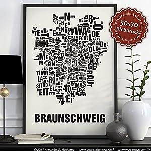 Braunschweig Buchstabenort Schwarz auf Naturweiß